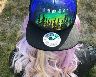 c5692f53642 Custom painted hat   night sky   moon phases   one of a kind