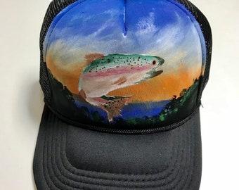 64a76d98350d6 Fish hat   trout   Handpainted trucker hat   mountain SnapBack