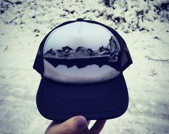 45c6c89a94fab Painted trucker hat   black and white   custom SnapBack   mountain hat