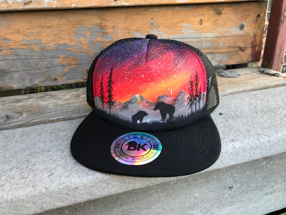 Custom hat   painted snapback   bear hat   one of a kind    266a201455f