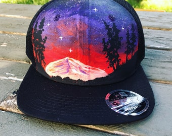 Handpainted trucker cap / flat bill / night sky / mountain painting / painted hat