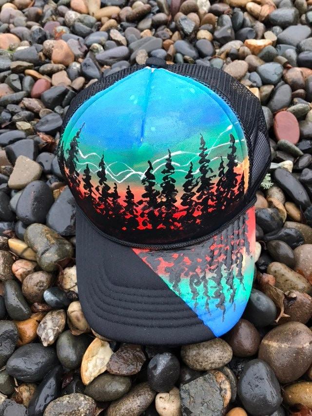 Painted tree hat  custom snapback  one of a kind bittersweet canvas