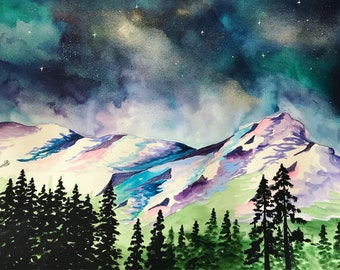 Mountain watercolor / starry sky / blue / landscape painting / original art
