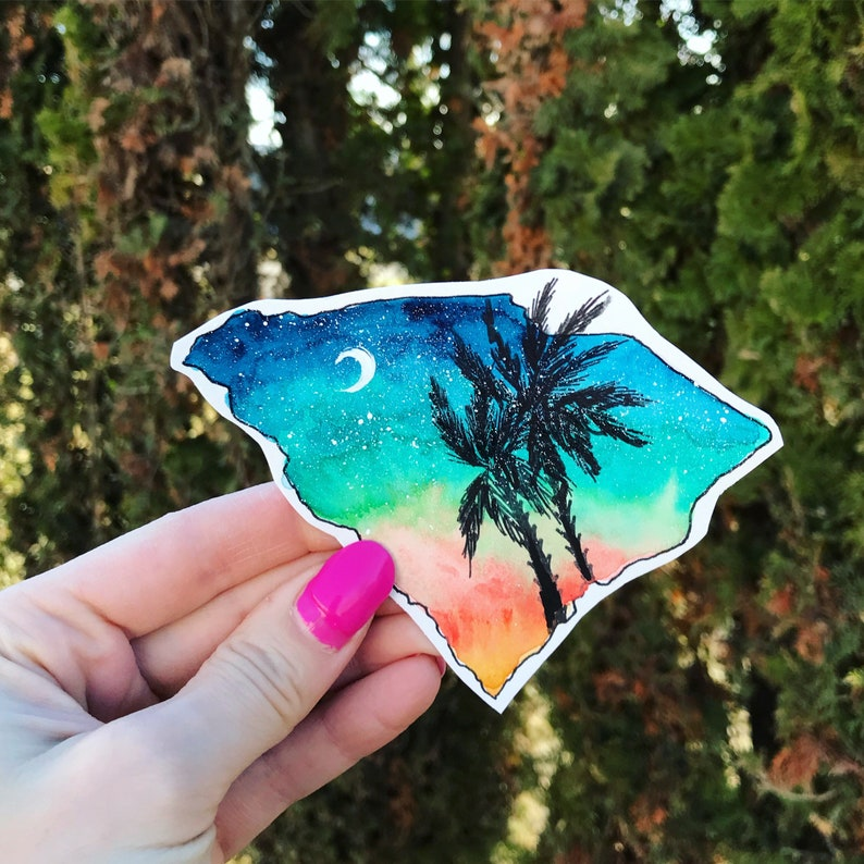 South Carolina decal / palm tree / state sticker / / water bottle decal /
