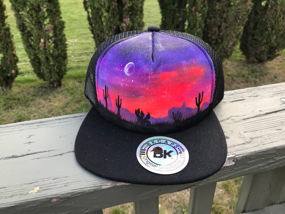 49a34bf0988 Custom painted hat   one if a kind   SnapBack   desert   mesh