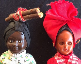 Two Vintage Celluloid Dolls, in Traditional Costumes - 1950