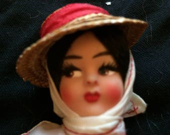 Vintage Hard Plastic Doll in Traditional Costume, Made in Italy - 1950