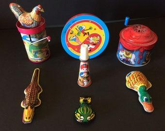 Vintage Noisemakers, Tin Noisemakers, Set of Seven - 1970