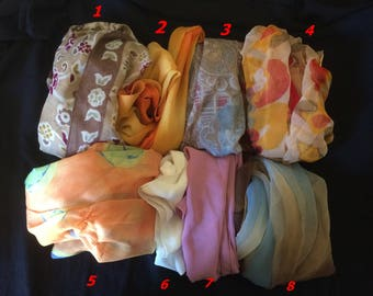 Lot of Eight Vintage Scarves Made in Italy - 1970