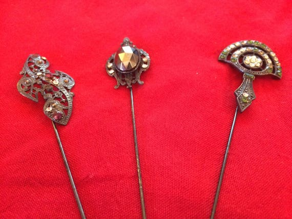 Three Vintage Hat/Scarf Pins - 1940