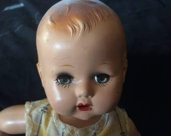 Vintage Rare Full Body Hard Plastic Doll, by Imperial Crown Toy Co., Made in USA - 1940