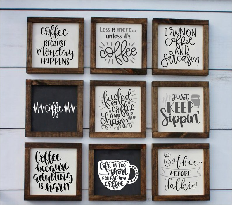 Mini Farmhouse Coffee Signs Coffee Bar Signs Coffee Lovers image 0