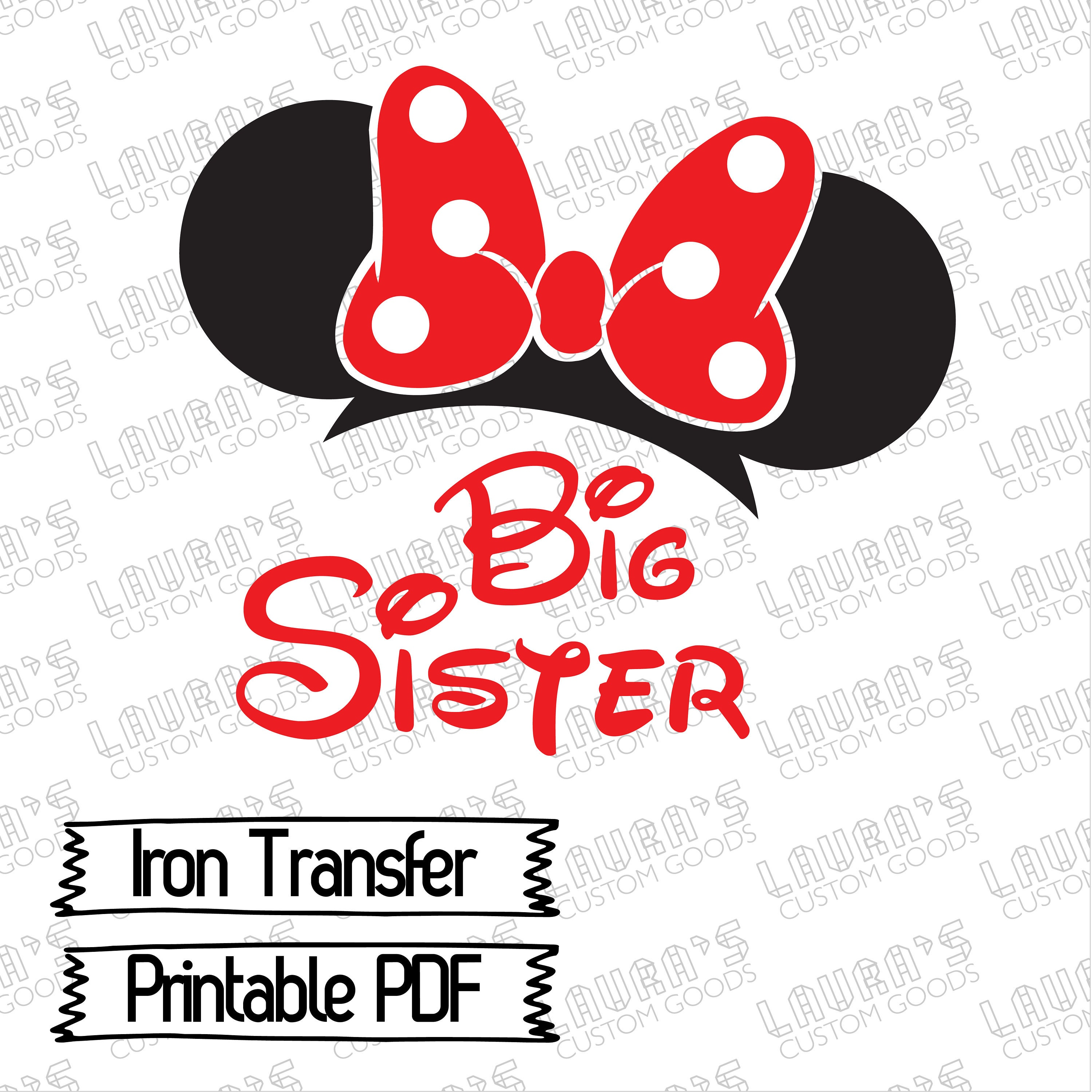 Disney Big Sis Iron on Disney Iron Transfer 3 Minnie | Etsy