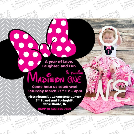 Minnie Mouse Birthday Card Minnie Mouse Card Template Minnie Etsy