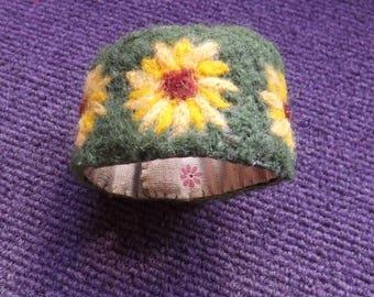 Sunflowers Needle Felted Cuff Bracelet
