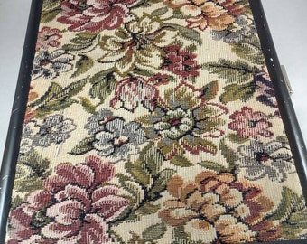 "Ladies Briefcase Attache Metal Tapestry Underarm Handleless 13.5""x10""x2"" 1989"