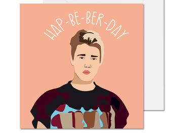 Hap Be Ber Day Birthday Card Celebrity Funny Justin Bieber 135mm