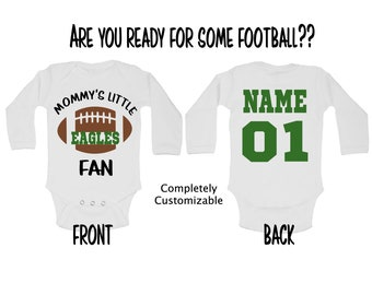 b534978e669 Daddy Mommy Football Fan EAGLES NFL Any Team You Want Customizable Funny  Adorable Baby Onesie Snarky Gift Free Shipping
