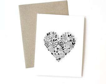 Floral Heart   Card    Greeting Card   Love Card   Anniversary Card   Shower Card   Baby Card   Wedding Card   Floral Card