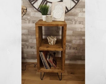 Handmade Solid Wood Vertical Record Player Table Display Unit Bookshelf Side