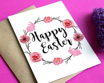 Pink Floral Card, Easter Bunny Card, Happy Easter Card, Unique Easter Card, Easter Printable Card, Easter Greeting Card, Spring Card