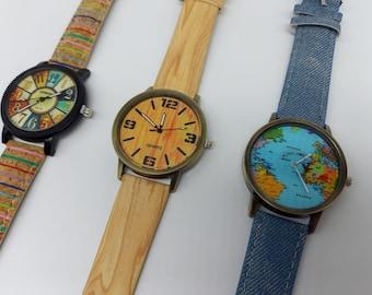 Leather Watch Women's Watch Wristwatch Cork Cork Watch Watch Cork Leather Vintage Gift for Women Leather Gift Idea