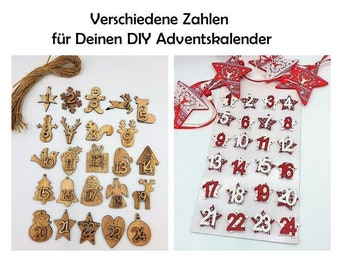 Numbers for Advent Calendar Wood Numbers Wood to Stick Attach Brackets Christmas Christmas Calendar Make Your Own Christmas Calendar