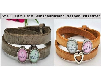 Name Bracelet Best Sister Sister Heart Leather Bracelet with Name Pearl Heart Love Personalized Name Gift Boyfriend Girlfriend Wish Name