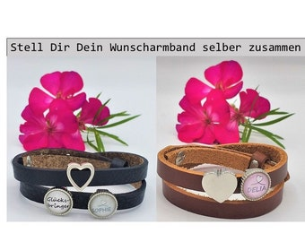 Name Bracelet Lucky Charm Leather Bracelet with Name Pearl Heart Love Personalized Name Gift Friend Girlfriend Desired Name Friendship