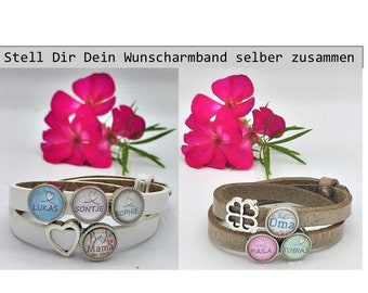 Name Bracelet Best Mama Grandma Sister Papa Leather Bracelet with Name Pearl Heart Love Personalized Name Gift Boyfriend Girlfriend Wish Name