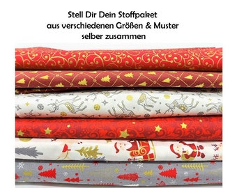 Christmas fabric Cotton fabric to put together yourself different sizes Cotton Christmas Fatquarter different patterns and sizes