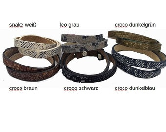 Leather strap double wrap bracelet // adjustable // expandable as desired with sliding beads // Gift idea for women and men