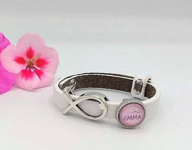 Name bracelet Communion Fish / Name bead customizable / image 0