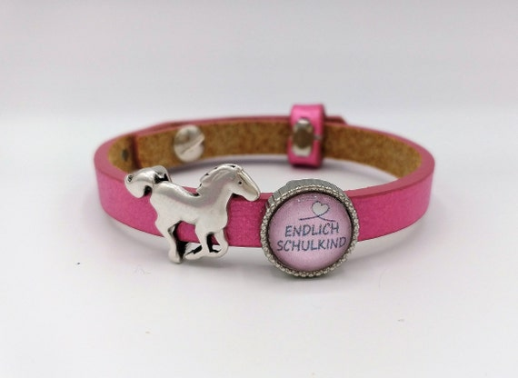 personalisiertes Kinderarmband Pferd Name Lederarmband Armband Leder Schiebeperle Wunschname Tiermotiv Pony Pferdeliebhaber
