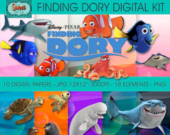 Digital papers and clip arts finding dory, finding dory digital, finding dory papers, backgrounds, scraps, finding nemo, INSTANT DOWNLOAD
