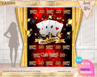 Casino Las Vegas Card Party Backgrounds For Photo Studio Black Gold Frame Text Happy 40th Birthday Backdrop