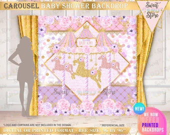 Cute Carousel Horse Dessert Table Backdrop Carousel Large Scale Backdrop DIGITAL FILES Carousel Party Backdrop