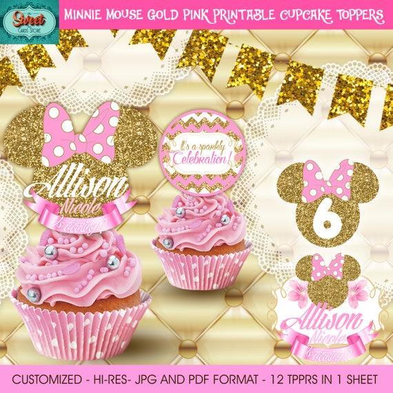 Minnie Gold Personalized Digital Cupcake Toppers Minnie Mouse Etsy