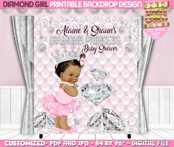Diamonds Backdrop Diamonds and pearls baby shower printable backdrop Diamonds and pearls baby shower Baby shower Backdrop