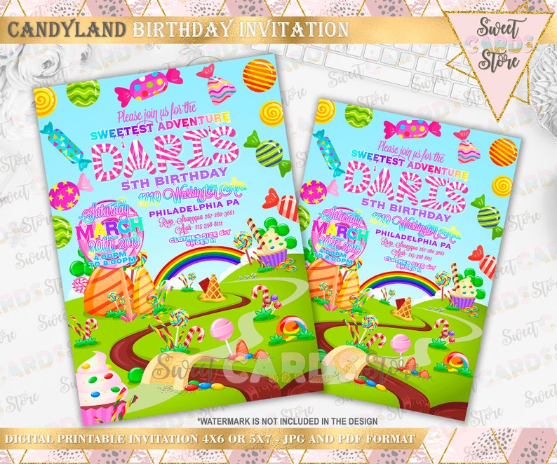 Candyland Printable Invitation Invite Birthday Party Sweets And Candy6 Candy