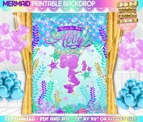 graphic relating to Printable Backdrop called Mermaid Glitter Printable Backdrop, Mermaid beneath the sea Backdrop, Mermaid Picture Backdrop, Underwater mermaid Backdrop, Mermaid Get together Decor