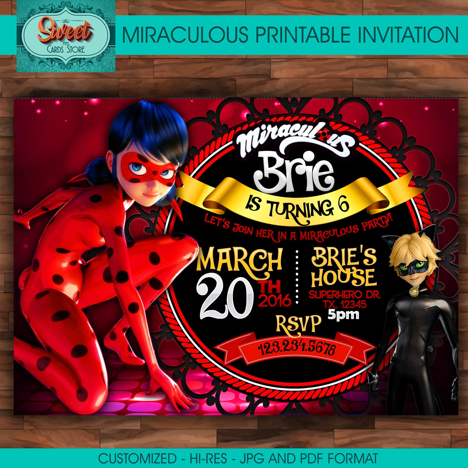 Miraculous personalized digital invitation miraculous ladybug | Etsy