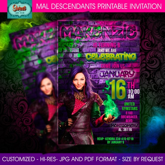 Disney Descendants Wicked World Birthday Invitation The Party Invitations