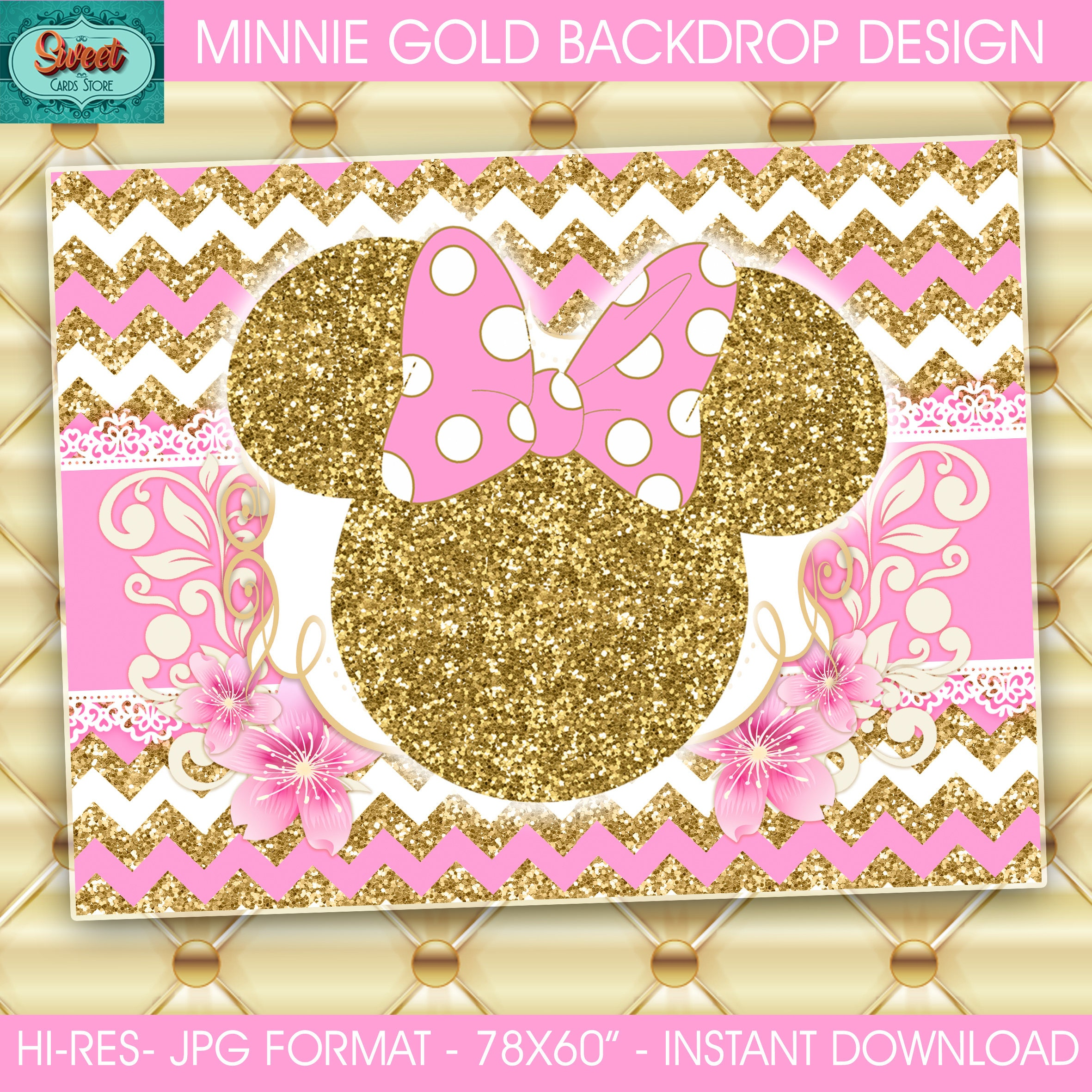 Gold minnie mouse printable digital backdrop background gold | Etsy