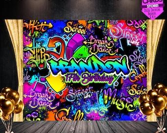 Neon Graffiti Printable Party Backdrop, Graffiti Printable Backdrop, Graffiti Backdrop, Glow Party Backdrop, Graffiti Background, Graffiti
