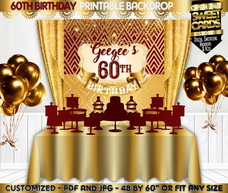 sixty backdrop 60th Birthday party backdrop 60th anniversary burgundy gold backdrop gold burgundy glitter backdrop 60th anniversary