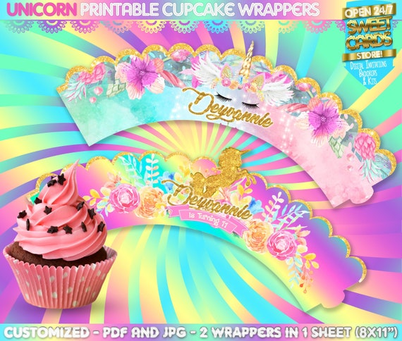 image about Printable Cupcake Wrappers known as Unicorn Printable cupcake wrappers, Unicorn Celebration wrappers, Unicorn cupcakes, Unicorn labels, Unicorn Birthday stickers, Unicorn get together Package