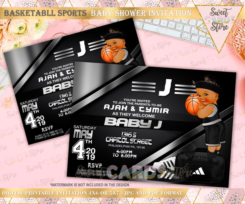 Sports Basketball Silver And Black Baby Shower Invitation Sports Baby Shower Invitation Basketball Baby Shower Baby Boy Shower Invitation