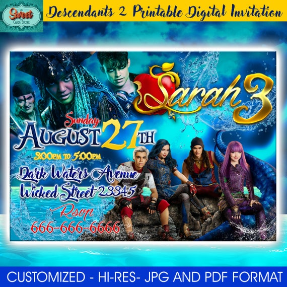 DIY Printable Disney Descendants Birthday Party Invitations 2 Invitation