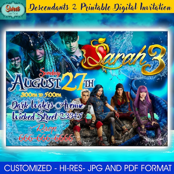 Disney Descendants 2 Invitation